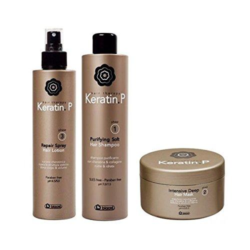 Kit Set completo trattamento capelli ristrutturante Keratin P Biacre' Shampoo + Maschera + Lozione spray