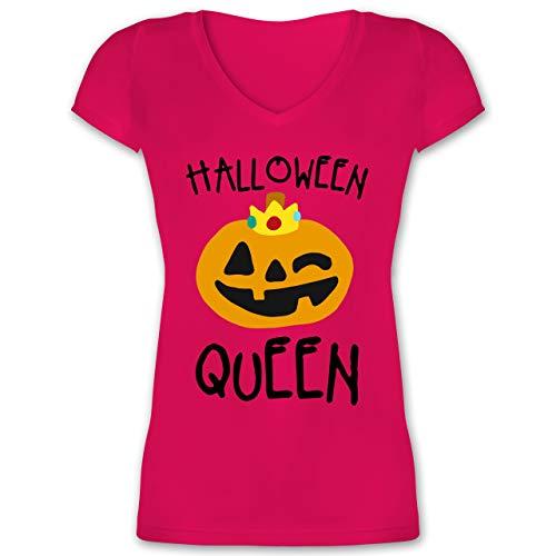 Halloween - Halloween Queen Kostüm - L - Fuchsia - XO1525 - Damen T-Shirt mit V-Ausschnitt