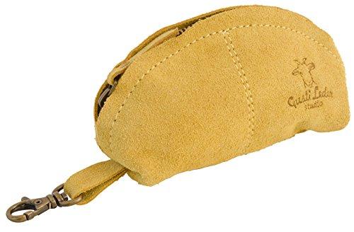 """Gusti Cuir studio """"Freddie"""" étui de beauté trousse de beauté étui en cuir sac en cuir trousse de toilette sac culture sacs pour clés chic pratique accessoire en cuir jaune 2A24-26-10"""