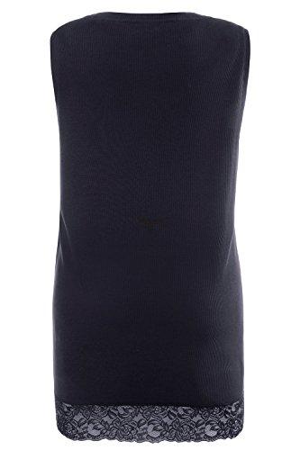Ulla Popken Femme Grandes tailles Débardeur Femme Sans manches Vest T-shirt Coton Caraco Top t-shirt dentelle blouse courtes manches 704840 bleu foncé