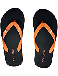 United Colors Of Benetton Black Orange Flip Flops For Men