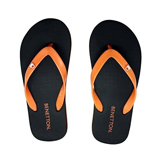 United Colors Benetton Black Orange FlipFlops For Men