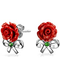Bling Jewelry Plata Esterlina 925 resina roja Rosa Arco Moderno CZ Stud Earrings