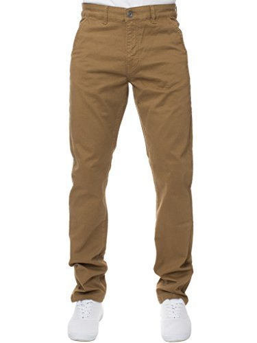 ENZO da uomo di marca pantaloni moda elastico aderente jeans vestibilità slim pantaloni tutte le taglie - Marroncino, 38W x 34L