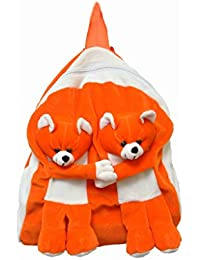 Jrp Mart Orange Twins Bear School Bag Or Picnic Bag For Kids, Children, Plush Backpack, Soft Toy (Orange)