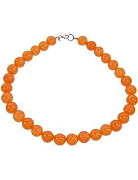 Yvesse Damen-Collier Halskette Sterling-Silber 925 rhodiniert Jade orange