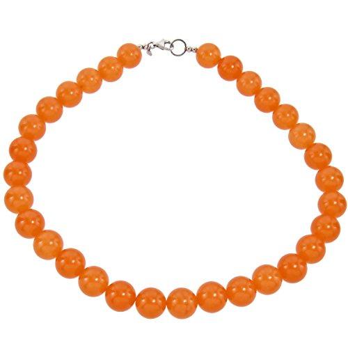 Yvesse Damen-Collier Halskette Sterling-Silber 925 rhodiniert Jade orange (Jade Verlobungsringe)
