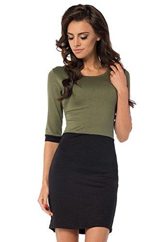 Longshirt Minikleid Top 2 Farbig 3/4 Arm Gr. 36 38 40 42 44 46, B29 Khaki