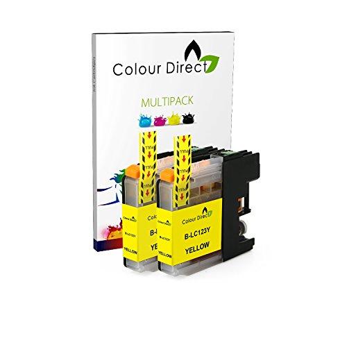 Preisvergleich Produktbild 2 Gelb Colour Direct LC123 kompatibel Chipped Tintenpatronen für Brother DCP-J132W DCP-J152W DCP-J552DW MFC-J650DW DCP-J752DW DCP-J4110DW MFC-J870DW MFC-J4410DW MFC-J4510DW MFC-J4610DW