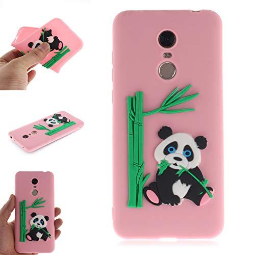 Coque pour Xiaomi RedMi 5 Plus, Coffeetreehouse Coque 3D Neuf Design Premium [Panda et Bambou] Housse de Protection Flexible Soft Case Cover,Rose