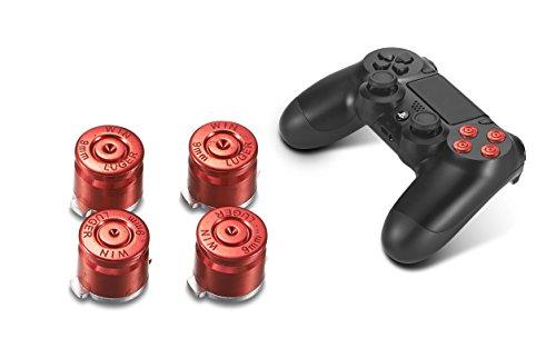 Supremery playstation 4 dualshock 4 pulsanti in alluminio pulsanti coperchi pezzi di ricambio accessori per ps4 (pallottola rosso)