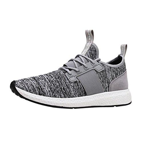 Ansenesna Herren Sneaker Schwarz Mit Weißer Sohle Flach Low Sportliche Schuhe Elastisch Atmungsaktiv Schnürschuhe (39, Grau)