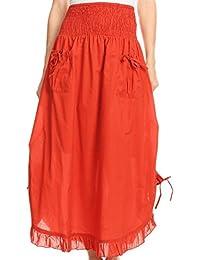 365f7d7be4 Sakkas Coco Larga Falda de la Colmena del algodón con Bolsillos y Cintura  elástica