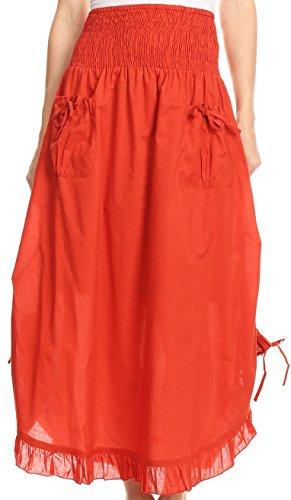 Sakkas 3118 - Coco Long Cotton Ruffle Rock mit Taschen und elastischem Bund - Rust - OS (Für Renaissance-kleidung Frauen)