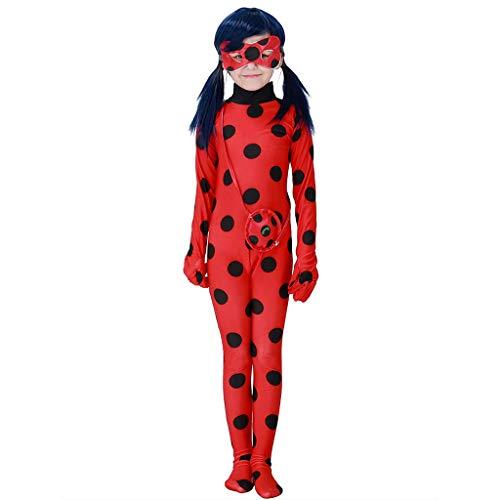Enfant Miraculous Ladybug Costume Combinaison Masque Sac Manches Longues Cosplay Rouge A Pois Respirant Doux Déguisement Halloween Noël Anniversaire Carnaval Fête 3-10ans 95-140cm (Rouge, 130-140cm)