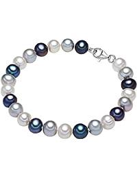 Valero Pearls - Bracelet de perles - Perles de culture d'eau douce - Soie perlée - Argent sterling 925 - Bijoux de perles - En différentes longueurs - 60921019