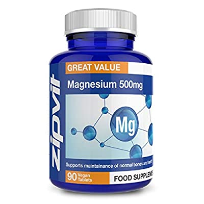 Magnesium 500mg   90 Tablets   Supports Muscle & Bone Health   3 Months Supply   Vegan and Vegetarian Formula