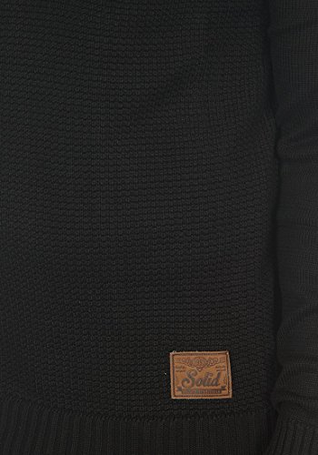 SOLID Tristian Herren Strickjacke Stehkragen Black (9000)