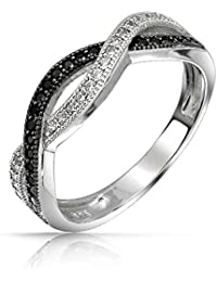 Bling Jewelry Simulated Onyx CZ Pave Twist Sterling Silver Infinity Ring