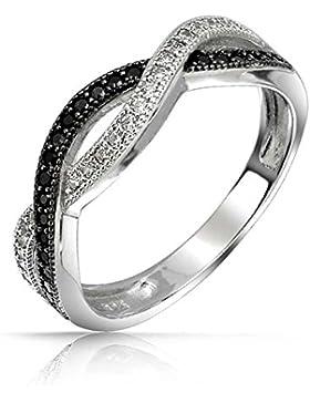 Bling Jewelry Sterling-Silber Schwarz und Weiß Pavé CZ Twist Unendlichkeitsring