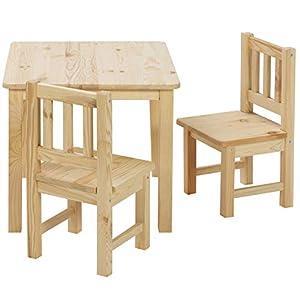 BOMI Stabile Kindermöbel: Tisch mit Stühle Amy aus Kiefer Massiv Holz | unbehandelt und unlackiert | naturbelassene…