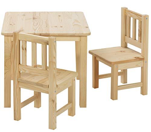 BOMI Stabile Kindermöbel: Tisch mit Stühle Amy aus Kiefer Massiv Holz | unbehandelt und unlackiert | naturbelassene Sitzmöbel für Kinder | kleinkinder tisch mit stuhl