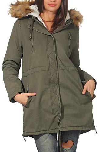 Malito Donna Foderato Parka Cappuccio Trenchcoat Cappotto-Invernale 81099  (M f774f5038ef