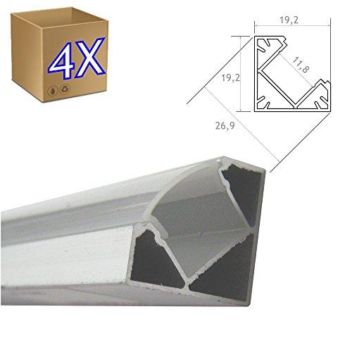4 * 1 Metro Perfil Aluminio Tira Led Esquina Con Tapa Traslúcida...
