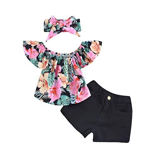 MRURIC Sommer Kleidungs Outfits Kleinkind Kinder Baby mädchen fliegen hülse Feste Haarband Outfits Set Spitze Outfits Kleidung (Tops+ Kurze Hosen) Sommerkleidung Mädchen Kleidung Set
