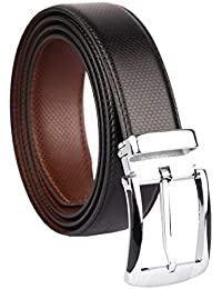 CLUB SPUNKY Reversible PU-Leather belt for men stylish leather branded leather belt for mens (Diamond Texture-03)
