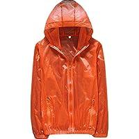 Men Jacket Home Chaqueta con Capucha para Hombre Piel con Cremallera Lluvia Cremallera Delantera Windbeaker (Color : Orange, Size : Small)