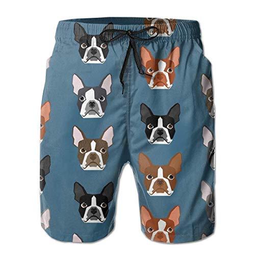 Sconosciuto Winer Dog Face Tasca da Surf Vita Elastica Pantaloni da Spiaggia da Uomo Pantaloncini Pantaloncini da Spiaggia Costume da Bagno L