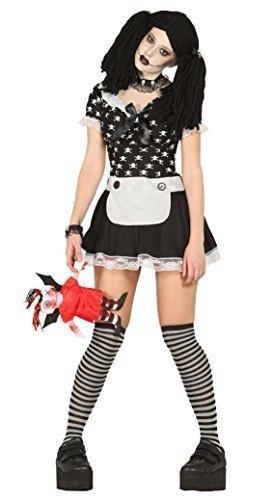 Damen Sexy schwarz weiß Toten Lappen Puppe Halloween Kostüm Kleid Outfit UK 14-16-18 (Puppe Kleid Für Halloween)