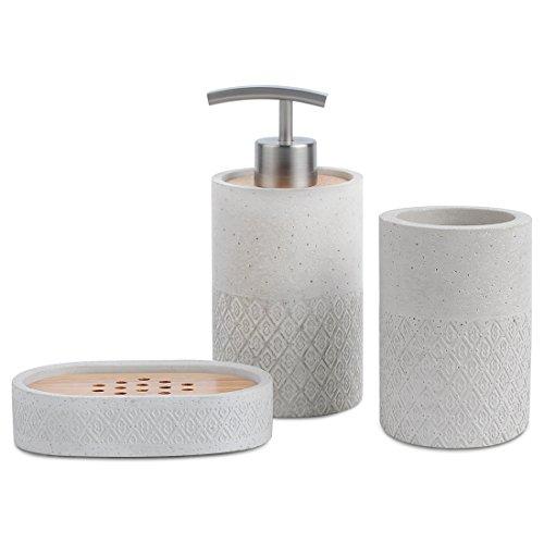 Badezimmer Zubehör Set 3Stück Seifenspender, Becher, Seifenschale, Satu braun LUXUS Zement und Gummibaumholz Badezimmer Set grau für Badezimmer Decor und Home Geschenk