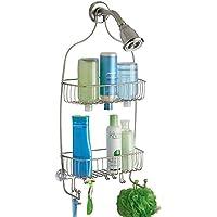 mDesign Portaoggetti Doccia per Bottiglie, Alte di Shampoo, Balsamo, Sapone - Extra Lungo, (Carrello Jumbo In Acciaio)