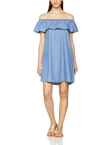 VERO MODA Damen Kleid Vmemilia SL Chambray Frill Dress, Blau (Light Blue Denim Light Blue Denim), 38 (Herstellergröße: M)