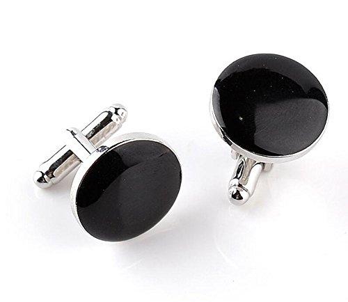Fablcrew rotondo gemelli nodo polsino manica pulsante camicie da uomo con accessori da donna nero