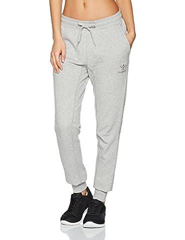 Hummel Sweatpants Damen lang in Schwarz - CLASSIC BEE WO GLEN PANTS - Sweat Sporthose mit Baumwolle - Jogginghose für Sport & Fitness mit Aufdruck, Grey Melange, (Damen Jogginghosen)