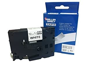 Eseller Direct® - Compatible Label Tape Replacement TZ231 for Brother P-touch Printers [12mm x 8m] (Black on White) TZ-231