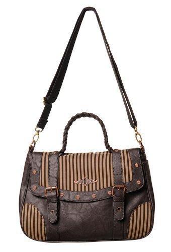 Banned Damen Handtasche Steampunk Braun Schwarz Streifen Schlüsselloch Freizeit Schultertasche