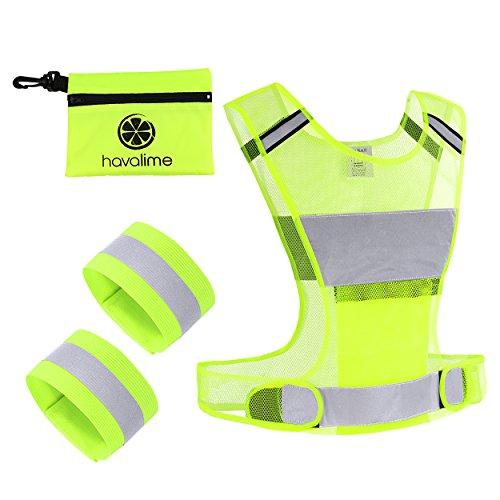 havalime Sicherheits Reflektoren Set Bestehend aus Sicherheitsweste Warnweste Zum Motorradfahren Laufen Joggen mit 2 Reflektorbänder für Hand und Fußgelenke (S/M)