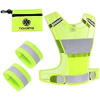 havalime Sicherheits Reflektoren Set Bestehend aus Sicherheitsweste Warnweste Zum Motorradfahren Laufen Joggen mit 2 Reflektorbänder für Hand und Fußgelenke