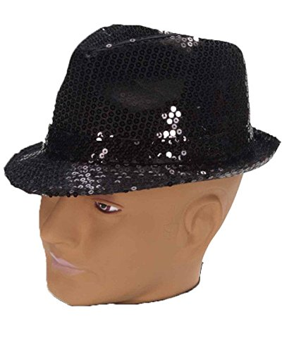 Kostüm Jazz Flapper - Forum Novelties Pailletten Fedora Hat, Polyester, Schwarz, One Size