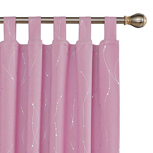 Deconovo Verdunkelungsvorhang Schlaufen Vorhang Blickdicht 175x140 cm Pink 2er Set