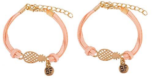 Imagen de strass & paillettes lote de dos pulseras de gamuza rosa, salmón con una piña dorada y una medalla bf. / duo pulseras best friend de piña/pulsera para su mejor amiga