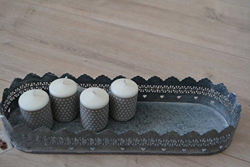 Tablett -Tablett- 40 cm sehr chic und stabil-aus Metall- oval,