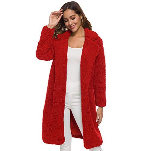 Donna Cappotti Lunghi Vendita Donne Faux Fleece Parkas Signore Maniche Lunghe Lapel Outwear Inverno Caldo Cappotto...