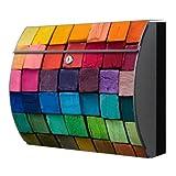 motivx Modell Swing Wandbriefkasten Edelstahl Briefkasten mit Motiv bunte Kreide