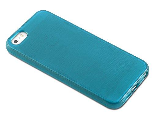 Apple iPhone 5 / 5S / SE Silikon-Hülle in SCHWARZ von Cadorabo - TPU Schutz-hülle Edelstahl-Optik gebürstet BRUSHED Design – Handy-hülle Bumper Case Cover in SCHWARZ TÜRKIS