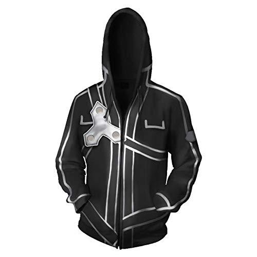 LEILEITX Unisex 3D Druck Männlich Weiblich Hoodie Kapuzenpullover Langarm Sweatshirt Kapuzenjacke Mit Taschen Reißverschluss Sword Art Online
